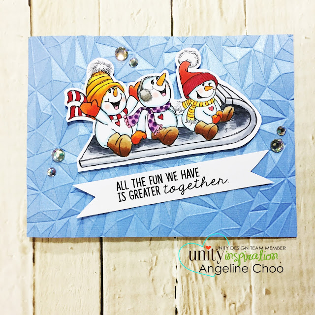 ScrappyScrappy: New Year Blog Hop with Unity Stamp - 3 Snowbuddies #scrappyscrappy #unitystampco #tierrajackson #card #cardmaking #copicmarkers #wermemorykeepers #nextlevelembossing #tatteredangels #glimmermist #glitterpaper #embossing #snowman #winterwishes #christmascard #holidaycard #papercraft #stamp #stamping