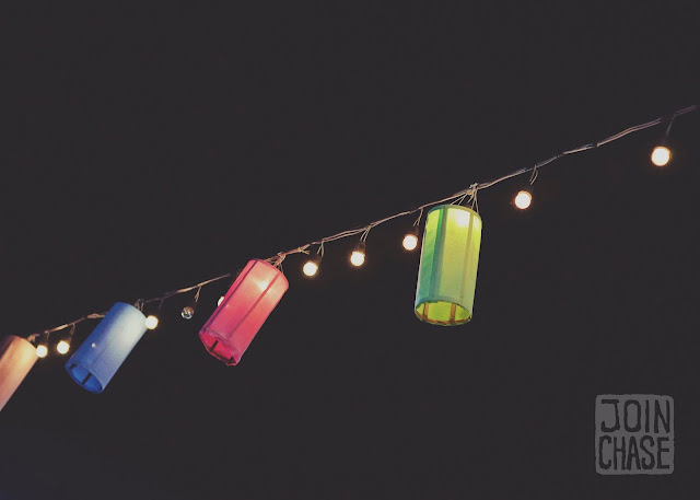 Colorful lanterns hanging above the night bazaar in Chiang Mai, Thailand.