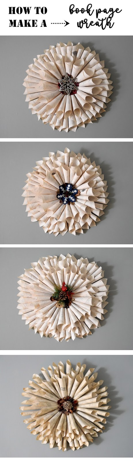 examples of book page wreath for Christmas