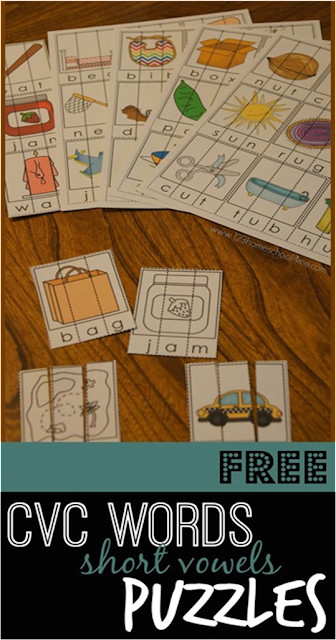 FREE CVC Words Puzzles are such a fun way for kids to practice reading, spelling, and sounding words out for preschool, prek, kindergarten, and first grade. Print in color or black and white.