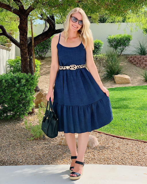 Restyling your wardrobe- ruffled dress with leopard belt