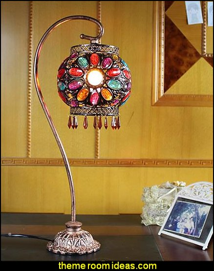 Multi-Color Floral Table Lamp with Iron Stand