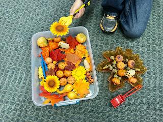 Fall Sensory Tub, www.JustTeachy.blogspot.com