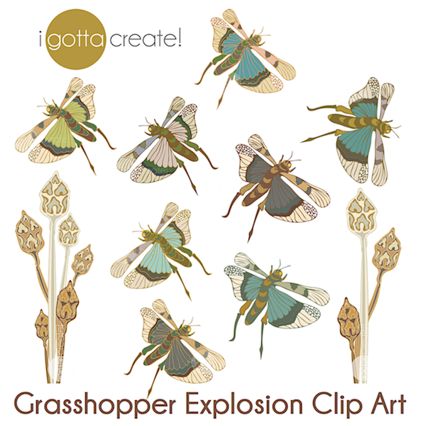 Grasshopper Explosion Clip Art by I Gotta Create!
