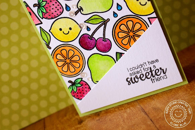 Sunny Studio: Fresh & Fruity Sweet Friend Fruit Card by Eloise Blue