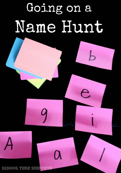 Help your child learn the letters of his/her name with this fun Name Hunt Activity using 2 materials!!