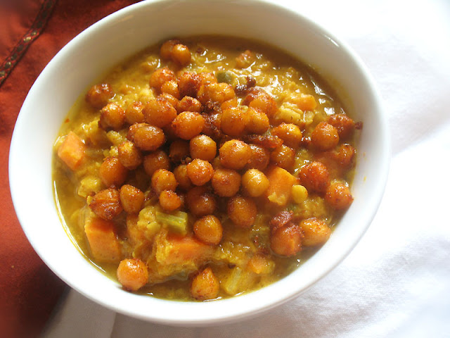 Curried Lentil Soup with Roasted Chickpeas