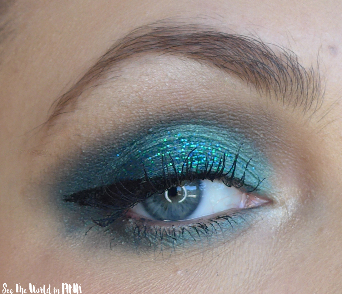 January Shop My Stash - Teal Turquoise Glittery Eyeshadow Look