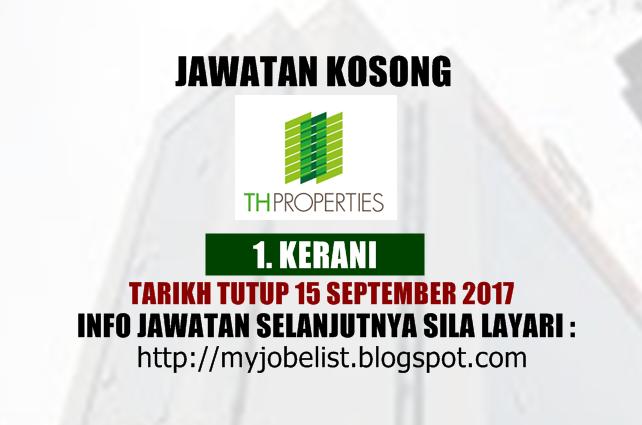 Jawatan Kosong di TH Properties (Tabung Haji) - 15 September 2017