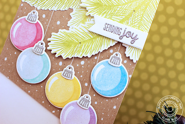 Sunny Studio Stamps: Holiday Style Pastel Ornament Card by Eloise Blue.