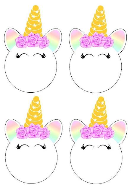 Cara de Unicornio: Toppers o Etiquetas para Imprimir Gratis.