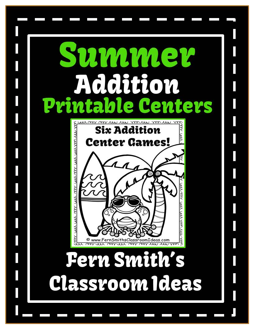 Fern Smith's Summer Beach Addition Printable Center Games For 1.OA.6 and 2.OA.2