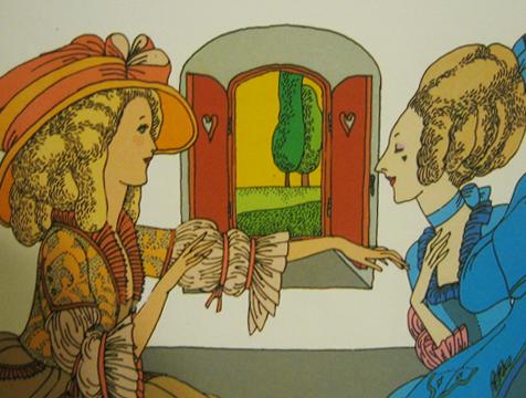 Ilustración de Miguel Ángel Pacheco, Bella y sus hermanas, para La Bella y la Bestia - Cine de Escritor