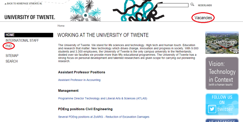 Vacancies Page at University of Twente 荷蘭博士是工作不是學生