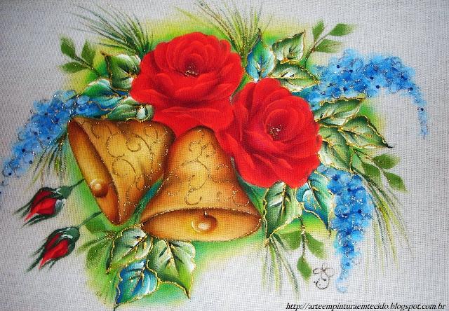 pintura em tecido natal pano de prato