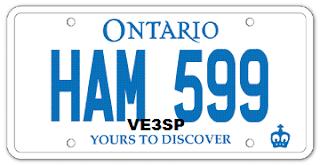VE3SP - Vehicle HAM Amateur Radio Personalized License Plate HAM 599