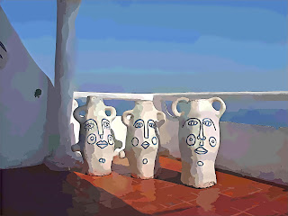 Vilaró: Rostos Azuis em Vasos Brancos