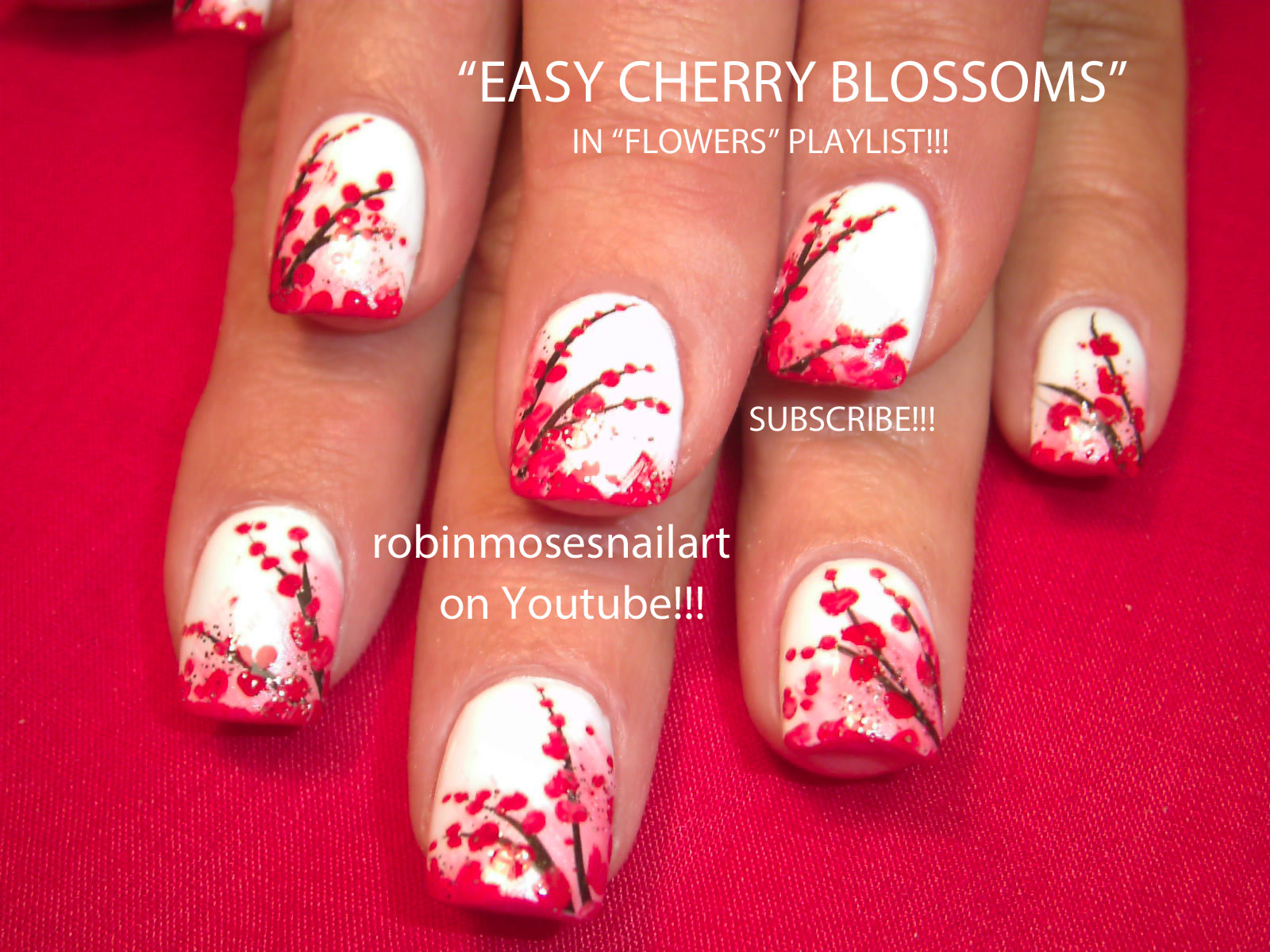 Nail Art By Robin Moses Cherry Blossom Nail Art Red Cherry