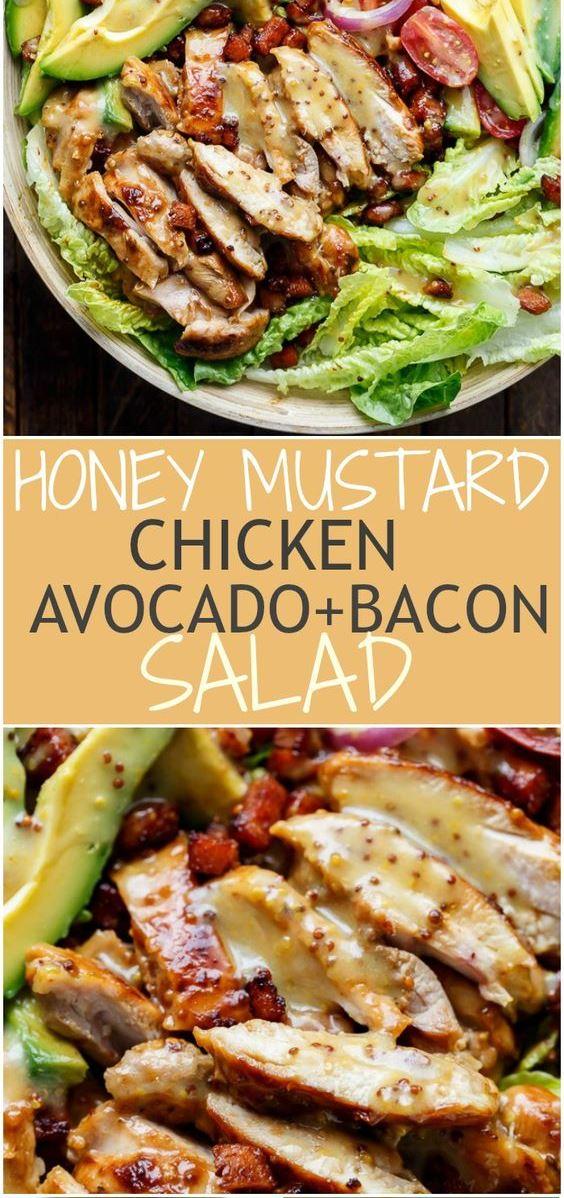 HONEY MUSTARD CHICKEN, AVOCADO + BACON SALAD