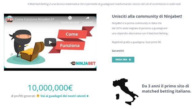 NinjaBet: unisciti alla più grande community di Matched Betting