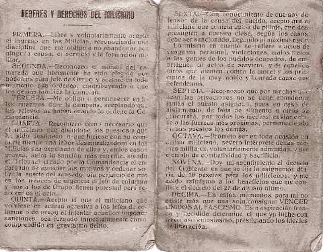 Deberes y derechos del miliciano de la Segunda República española Documento