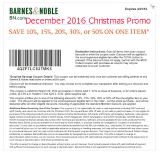 Barnes and Noble coupons december 2016