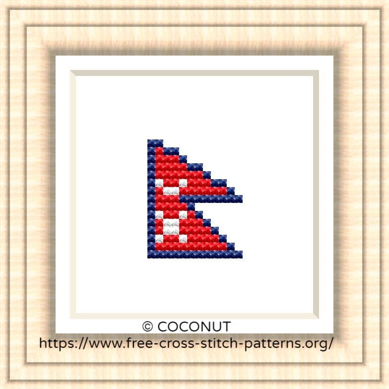 NATIONAL FLAG OF NEPAL CROSS STITCH CHART