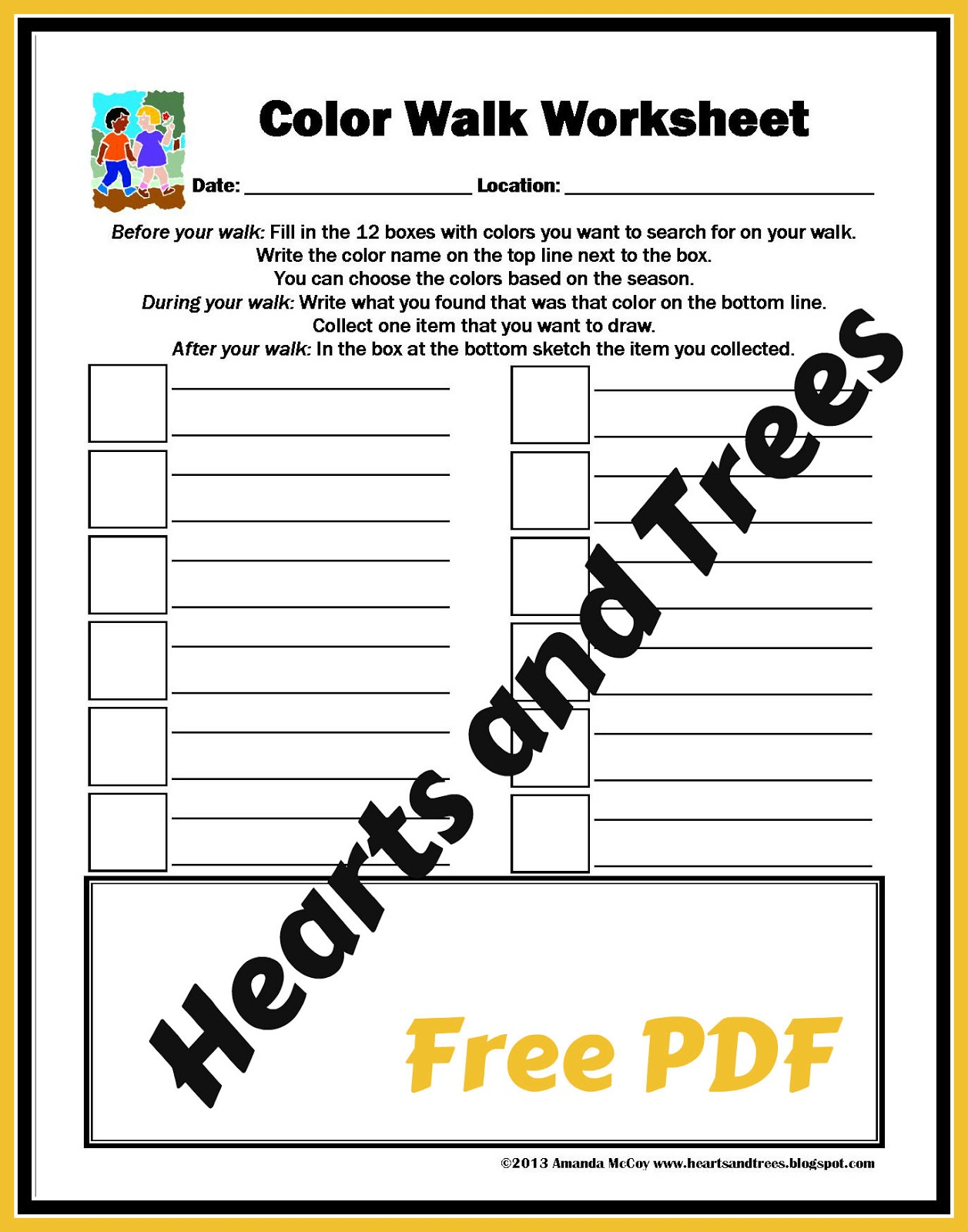 Hearts And Trees Free Printable Color Walk Worksheet