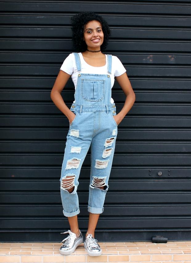 Como usar jardineira jeans romwe