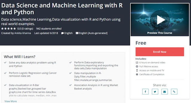 [100% Free] Data Science and Machine Learning with R and Python