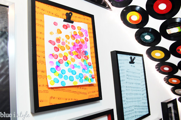 DIY kid's art display boards covered in sheet music for art and music lovers.