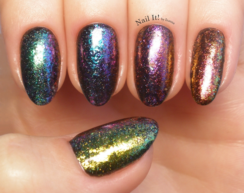 Ilnp Rainbow Holographic Ultra Chrome Flakies Over Gel Polish Is