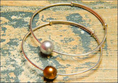 Pulsera de plata y perla marrón y gris