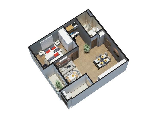 Thiết kế căn 1 phòng ngủ City Gate 3 - Chủ đầu tư NBB