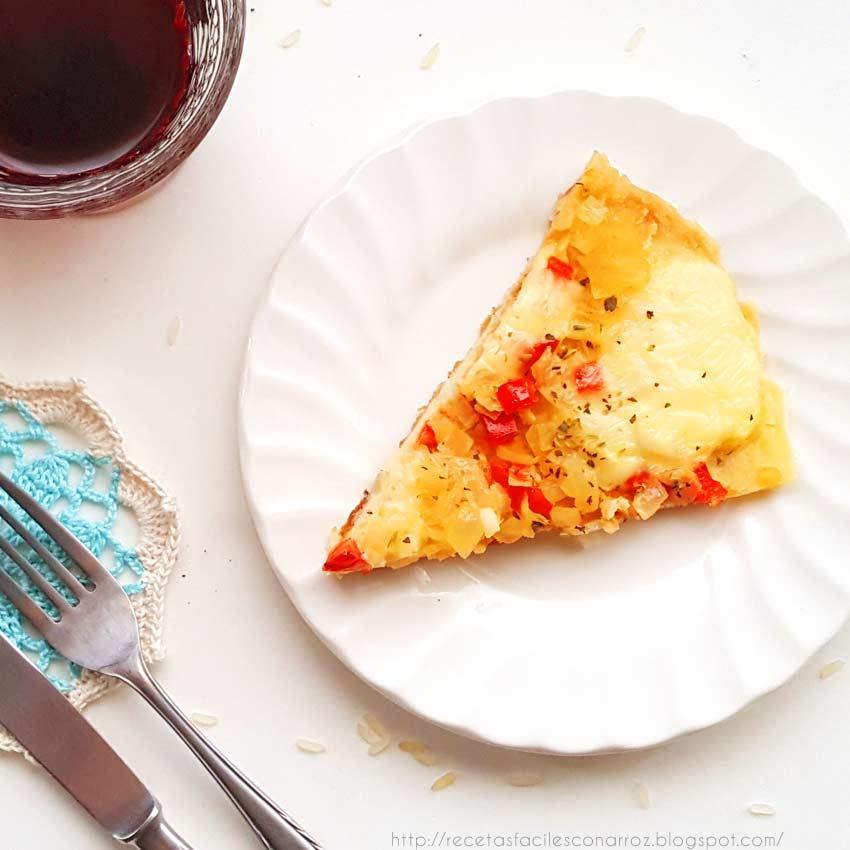 pizza arroz cocido
