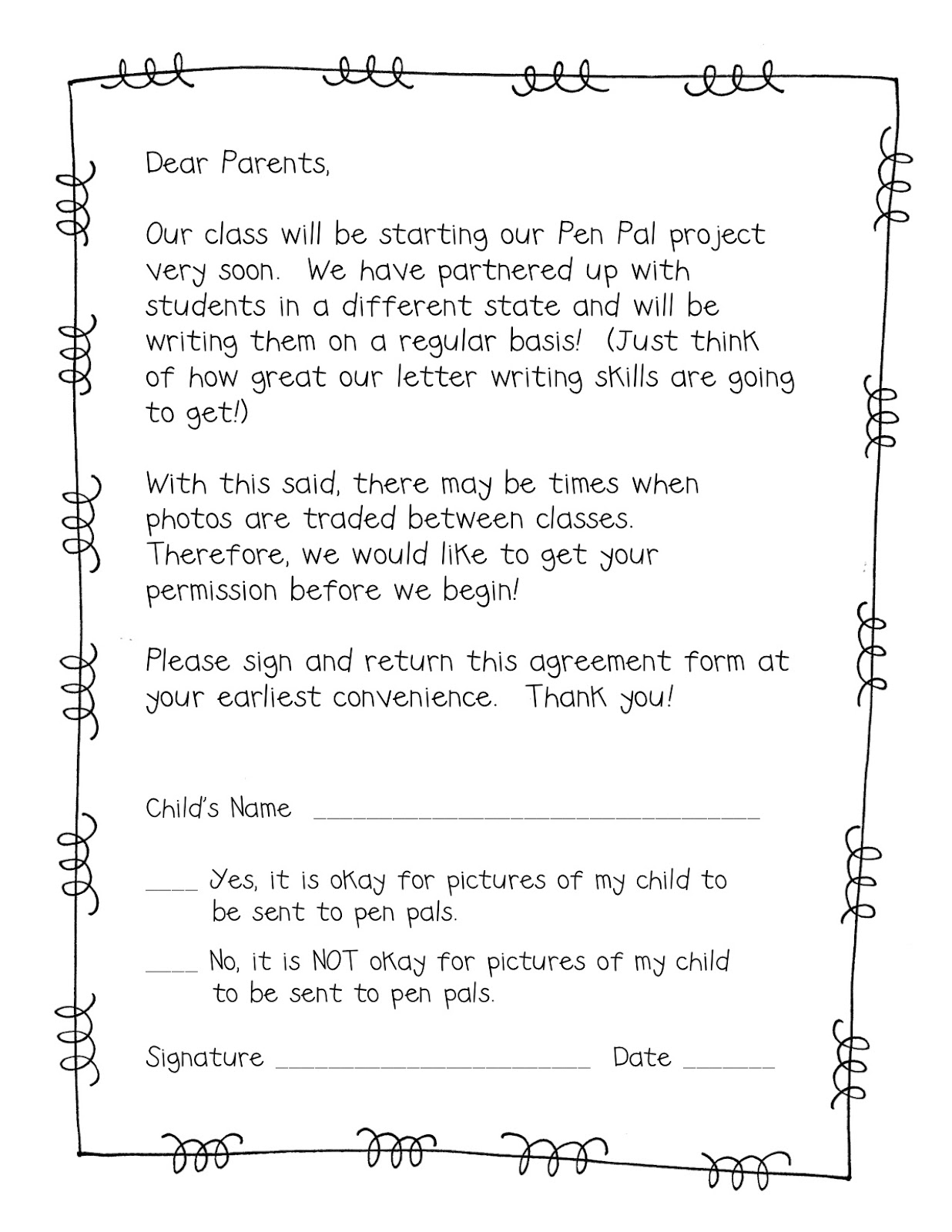 Form frenzy pen pal freebie teacher idea factory for Letter to parents template from teachers