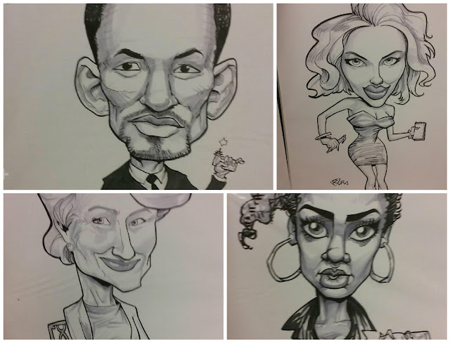 A Collage of Celebrity Caricature Art, Will Smith, Scarlett Johansson