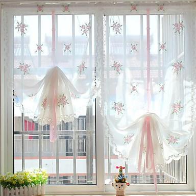 Cortinas cortinas de cocina visillos florales con lazo for Visillos cocina