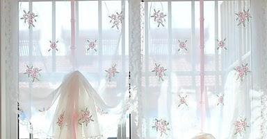 Cortinas cortinas de cocina visillos florales con lazo - Cortinas de bano transparentes ...