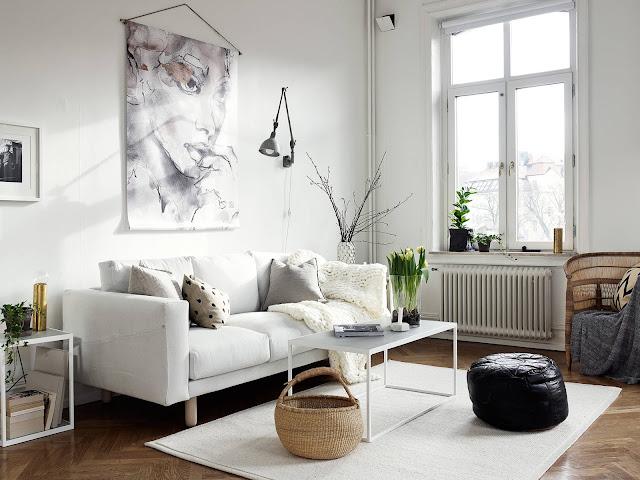 sofa, skandynawski salon, norsborg