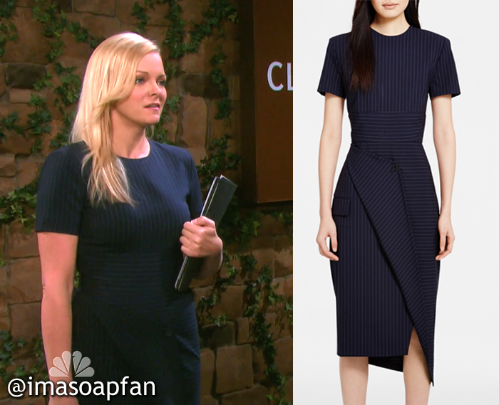 Belle Black's Navy Blue Pinstriped Dress - Days of Our Lives, Season 51, Episode 09/02/16