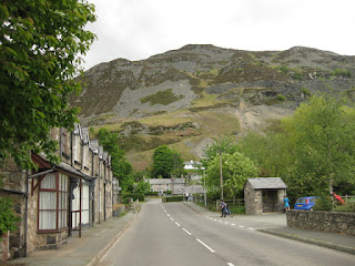 View of the main street in Llangynog, Wales, looking toward the Berwyn Range.