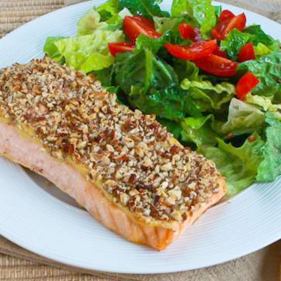 Quick and Easy Pecan-Crusted Dijon Salmon [found on KalynsKitchen.com]