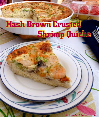 Hash Brown Crusted Shrimp Quiche is a shrimp, vegetable and egg pie baked in a flavor infused hash brown crust. Perfect for lunch, brunch, or dinner. | Recipe developed by www.BakingInATornado.com | #dinner #shrimp