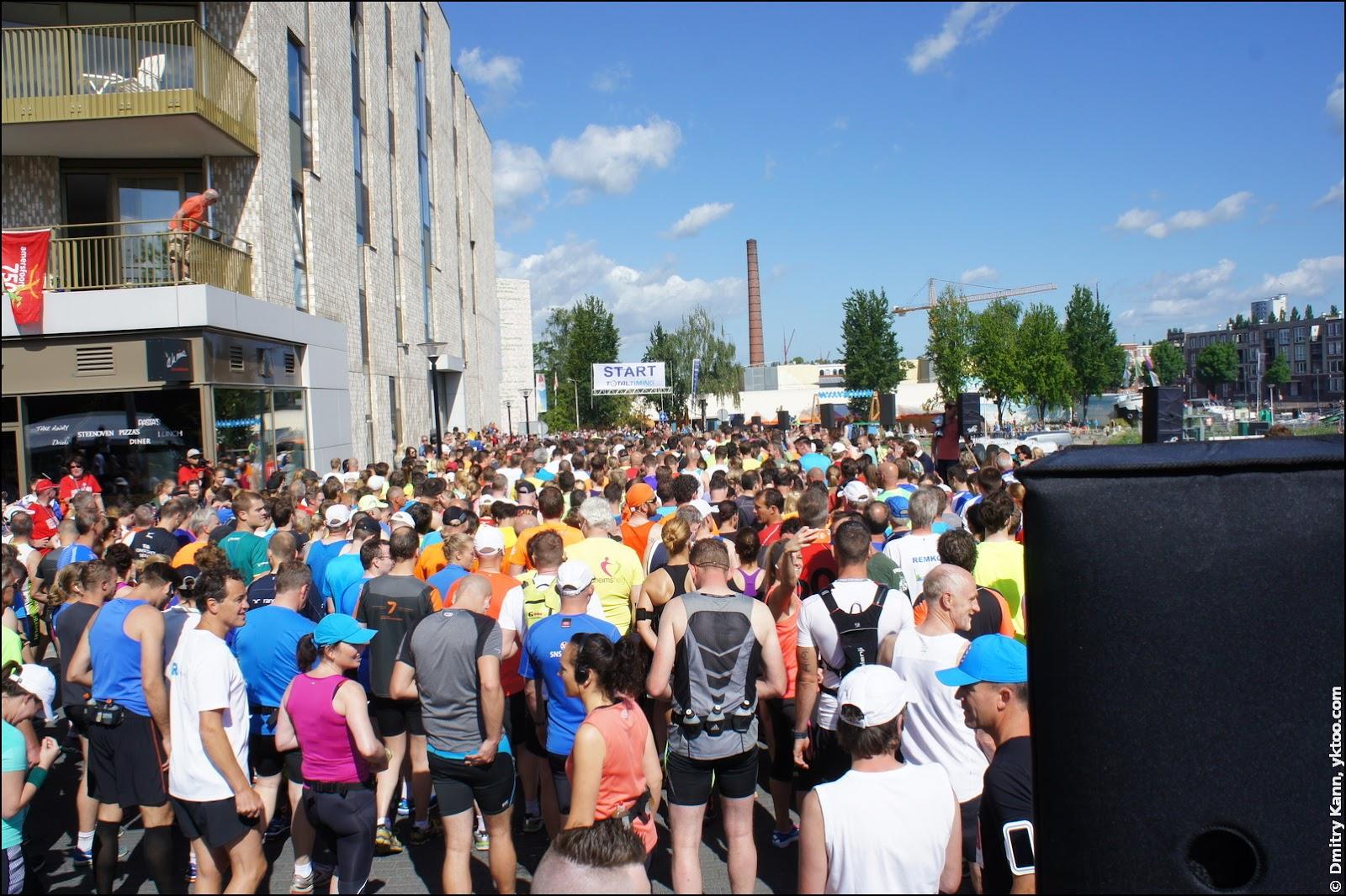 The start of the marathon and the half marathon.