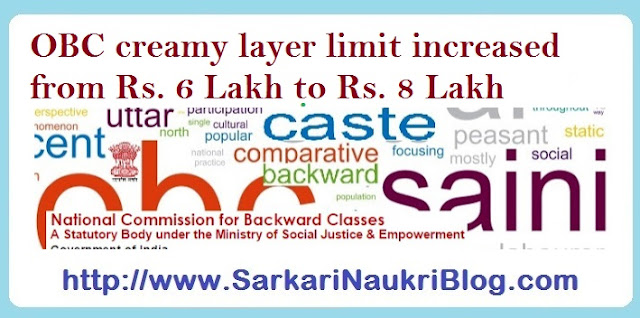 OBC creamy layer limit increased to 8 lakh