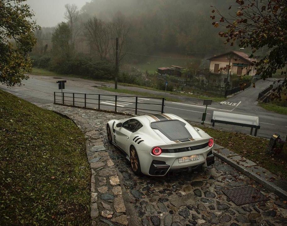 Ferrari F12 TDF and foggy Italia