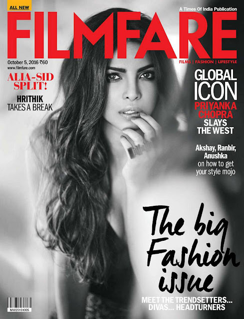 Priyanka Chopra on Filmfare Magazine Oct 2016 Issue Cover