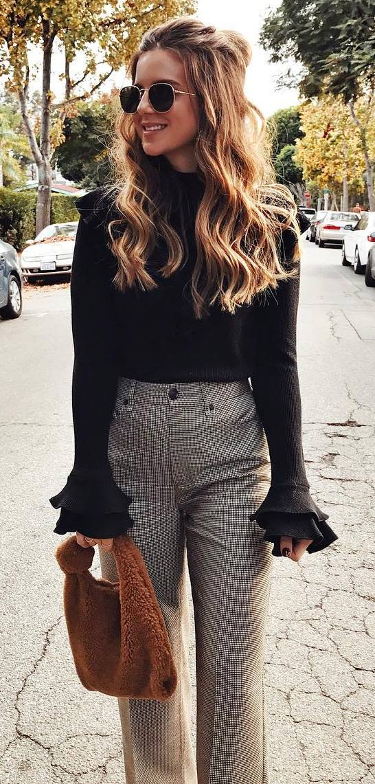 ootd | black bluse + pants + bag