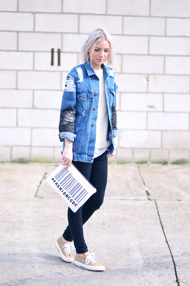 Denim jacket, asos, oversized, clutch, superga, camel